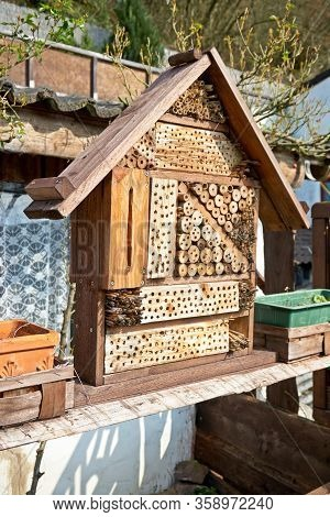 View To An Insect House In The Garden, Protection For Insects, Named Insect Hotel, Insektenhotel