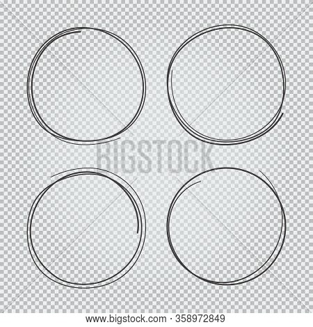 4 Hand Drawn Scribble Circles Set Isolated On Transparent Background Doodle Vector Illustration. Pen