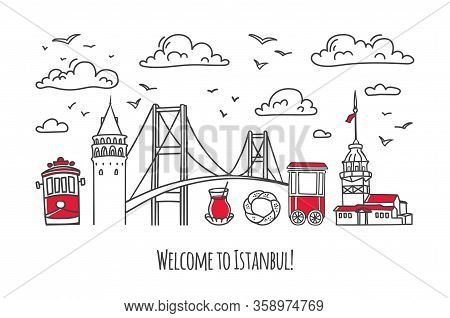 Vector Modern Illustration Istanbul. Galata And Maiden Tower, Bridge And Other Famous Turkish Symbol