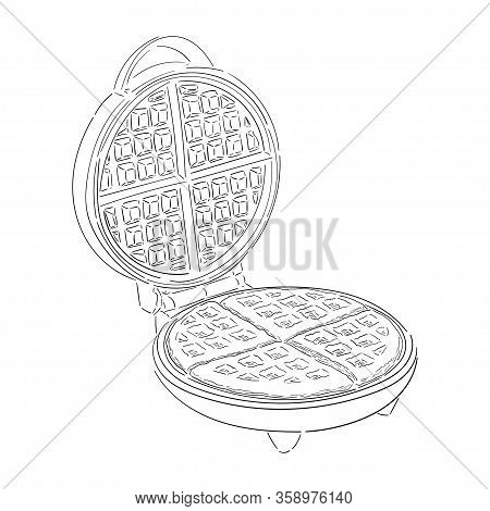 Waffle Iron, Black Contour Isolated On White Background, A Form Of Wafers, Waffles, Stock Vector Ill