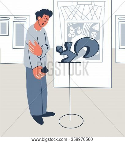 Visitor To The Museums Examines The Exhibit. Exposition Interior, Paintings. Vector Illustration Fla