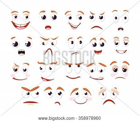 Cartoon Faces Collection. Caricature Comic Character People Emotions.