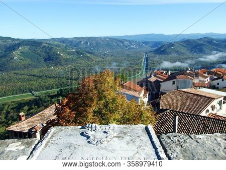 View Of The Mirna River Valley And Autumn Morning Fog From The Old Town Of Motovun - Istra, Croatia