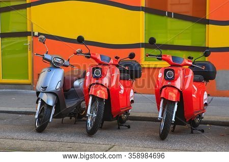 Vienna, Austria - October 27, 2019: The Electric Scooters Of The Brand