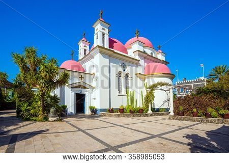 Place of worship and pilgrimage. The Monastery of the Holy Twelve Apostles is monastery of the Jerusalem Orthodox Church. Israel. Capernaum, Lake Tiberias. The concept of religious pilgrimage