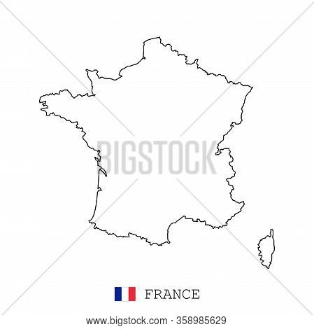 France Map Line, Linear Thin Vector. France Simple Map And Flag.