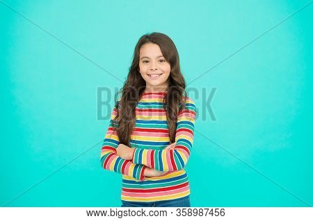Items For Small Girl. Nice Time To Be Child. Kid Fashion. Smiling School Girl. Kid Long Hair. Happy