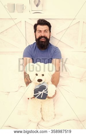 Cute And Romantic Gift. Bearded Hipster Prepare Lovely Gift. Valentines Day Gift. Spread Love. Prese