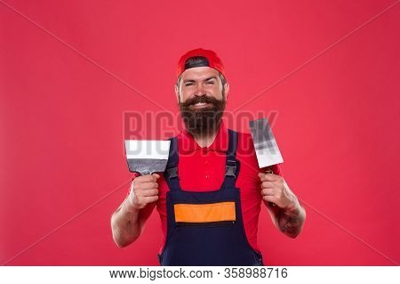 Professional Plasterer. Skillful Plasterer. Successful Renovation. Repair Success. Bearded Man Worke