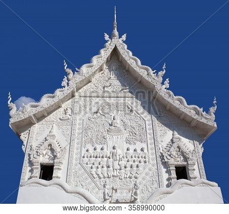 Exterior Of Wat Huay Pla Kang, Buddhist Temple At Sunset In Chiang Rai, Northern Thailand
