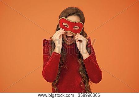 Happy New Year. Happy Girl Wear Eye Mask. Little Child Enjoy New Year Masquerade. Christmas Eve. New