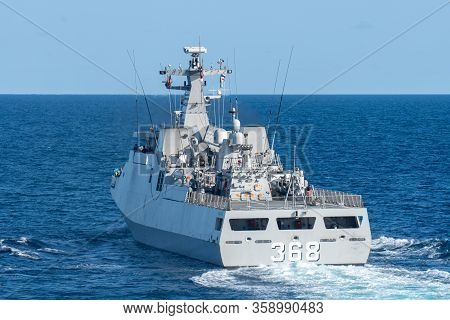 Chonburi, Thailand - August 18, 2019: Kri Frans Kaisiepo (368) Corvette Of Indonesian Navy Sails In