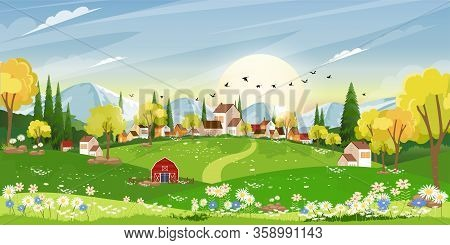 Spring Landscape In Sunny Day Village With Meadow On Hills With Blue Sky, Panoramic Countryside Of G