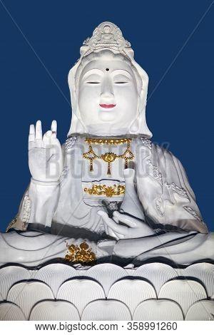Guan Yin Goddess - Detail Of Exterior Of Wat Huay Pla Kang, Big Buddha Temple At Sunset In Chiang Ra