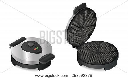 Waffle Iron In Isometric View. Metallic Beautiful Large New Silver Round Shape For Frying Waffles.