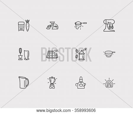 Utensil Icons Set. Grater And Utensil Icons With Colander, Coffee Grinder, Egg Separator. Set Of Fre