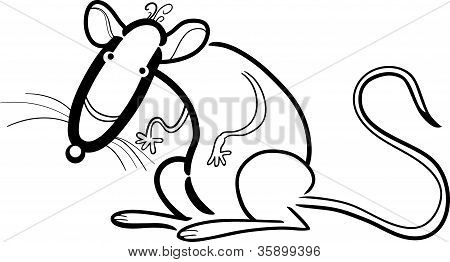 Rat Cartoon Character For Coloring