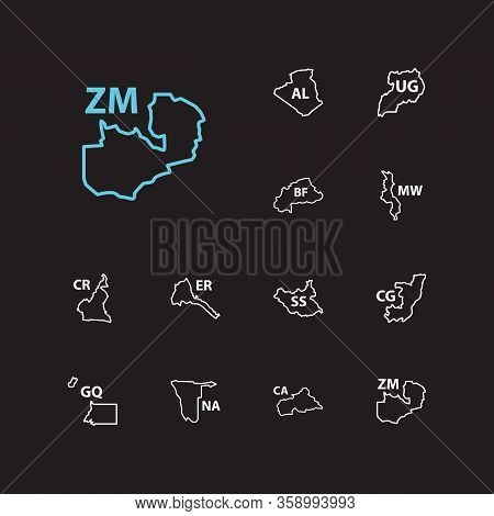 African Map Icons Set. Algeria And African Map Icons With Uganda, Equatorial Guinea, Malawi. Set Of