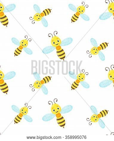 Bee Or Wasp Seamless Pattern, Yellow Flying Insect, Bumblebee Cute Vector Mascot For Logo, Nursery G