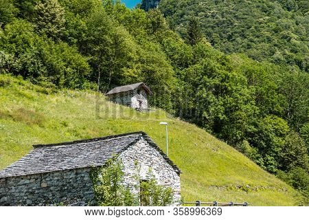 Old Medieval Houses In Cantone Ticino, South Of Switzerland
