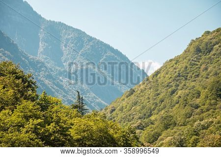 Hills And Forests Seen From Above. Green Mountains, South Of Switzerland.