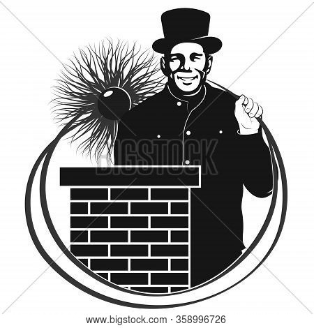 Chimney Sweep With Tool In Uniform And Chimney On The Roof Symbol