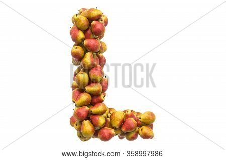 Letter L From Pears, 3d Rendering Isolated On  White Background
