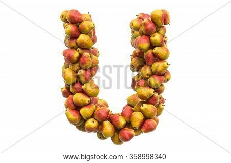 Letter U From Pears, 3d Rendering Isolated On  White Background