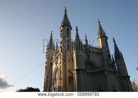 Gothic Cathedral In Pethof, Petergof, Russia. Private Chuch Belonging To The House Of Romanov.