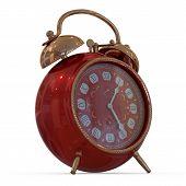 3D vintage alarm clock...Isolated white background. 3d render illustration... poster