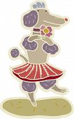 A dancing poodle wearing a skirt on a white background poster