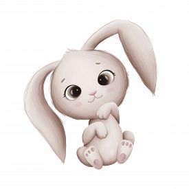 Cute Little Bunny On A White Background. Digital Illustration