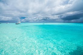 Turquoise Blue Indian Ocean At Fulidhoo Island, Maldives