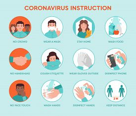 Set Icons Infographic Of Prevention Tips Quarantine Coronavirus Covid-19 Instruction Inside And Outs