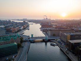 Copenhagen, Denmark - August 27, 2019: Aerial Drone View Of The Copenhagen Harbor During Sunrise.