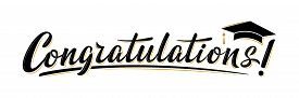 Congratulations! Greeting Sign For Graduation Party In University, School, Academy. Handwritten Brus