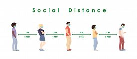 Social Distance. Full Length Of Cartoon Sick People In Medical Masks Standing In Line Against At A S