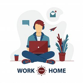 Freelancer Are Working On Laptop At Home. Remote Work. Self-quarantine Concept. Work At Home During