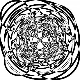 Abstract Arabesque Random Aproach Circle Game Perspective Design Black On Transparent Seamless Plaid