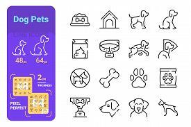 Dog Pets Line Icons Set Vector Illustration. Collection Of Dog Bowl, Doghouse, Dog-collar, Litter, P