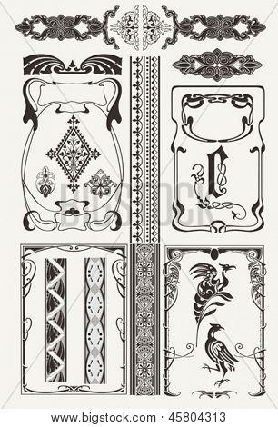 Set Of Ornate Frames In Art-Deco Style