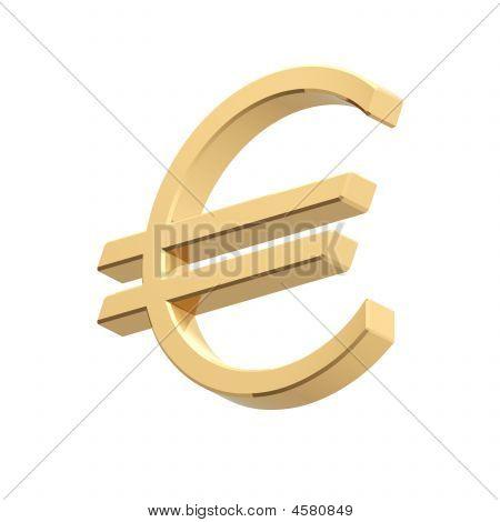 Gold Euro-Zeichen, isoliert auf weiss