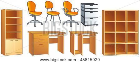 Office furniture set - desk, office chairs, bookcase, commode, shelves. Vector illustration objects set