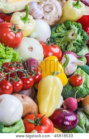 Group Of Fresh Vegetables Isolated On White