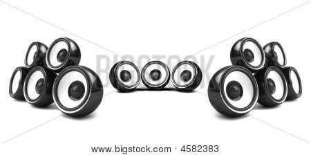 Black High-power Stereo System Over White