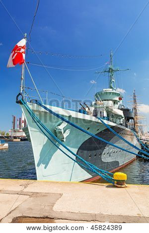 "GDYNIA, POLAND - MAY 19: Polish destroyer ""ORP B?yskawica"" preserved as a  museum ship at the Baltic Sea in Gdynia on 19 May 2013. This destroyer served in the Polish Navy during World War II."