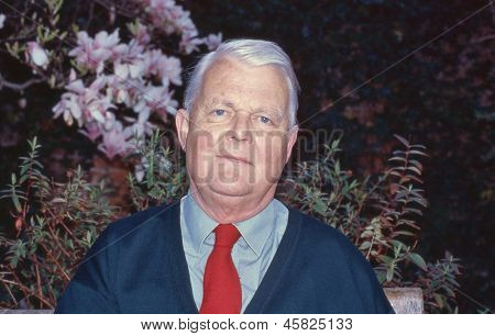 ASHFORD, ENGLAND - CIRCA 2005: Bruce Kent, Vice President of the Campaign for Nuclear Disarmament, attends a public meeting circa April 2005 in Ashford, Kent. Until 1987 he was a Roman Catholic priest