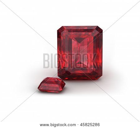 Ruby or Rodolite gemstone on white background poster