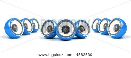 Blue Stylish Stereo System Over White