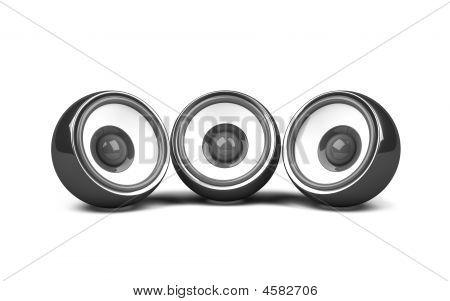 Three Black Speakers